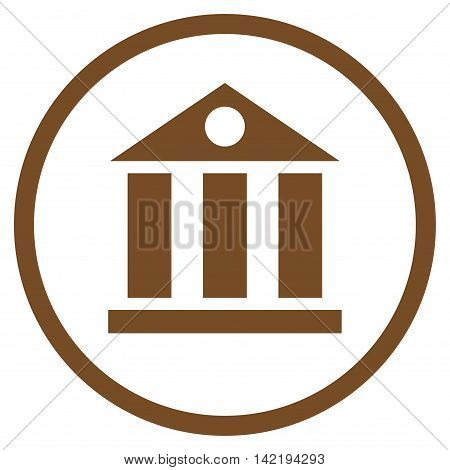 Bank Building vector icon. Style is flat rounded iconic symbol, bank building icon is drawn with brown color on a white background.