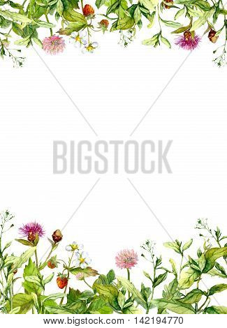 Blossom flowers, spring grass, herbs. Floral frame border Watercolor card