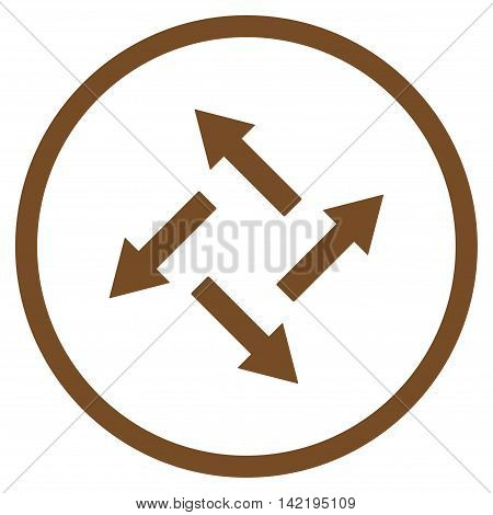 Centrifugal Arrows vector icon. Style is flat rounded iconic symbol, centrifugal arrows icon is drawn with brown color on a white background.