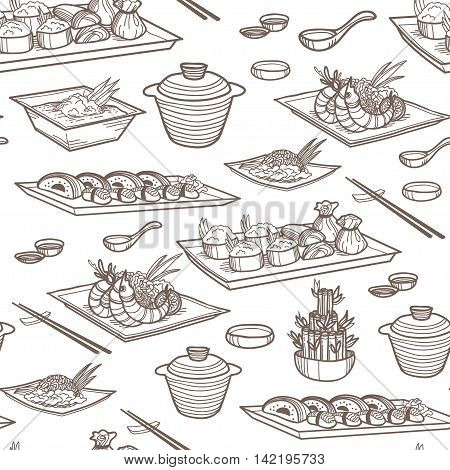 Vector seamless pattern with asian food. Perfect background with sishi, vegetables, seafood, bamboo. Great for restaurant menu backdrop, healthy oriental food concept.