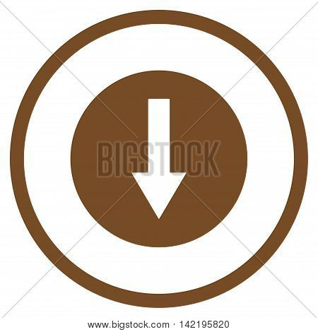Down Rounded Arrow vector icon. Style is flat rounded iconic symbol, down rounded arrow icon is drawn with brown color on a white background.