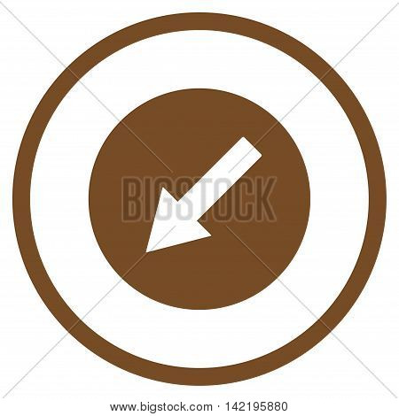 Down-Left Rounded Arrow vector icon. Style is flat rounded iconic symbol, down-left rounded arrow icon is drawn with brown color on a white background.