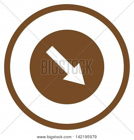 Down-Right Rounded Arrow vector icon. Style is flat rounded iconic symbol, down-right rounded arrow icon is drawn with brown color on a white background.