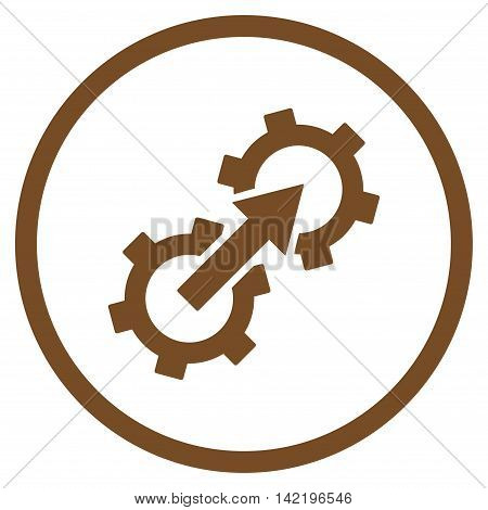 Gear Integration vector icon. Style is flat rounded iconic symbol, gear integration icon is drawn with brown color on a white background.