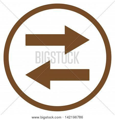 Horizontal Flip Arrows vector icon. Style is flat rounded iconic symbol, horizontal flip arrows icon is drawn with brown color on a white background.