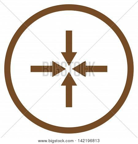 Impact Arrows vector icon. Style is flat rounded iconic symbol, impact arrows icon is drawn with brown color on a white background.
