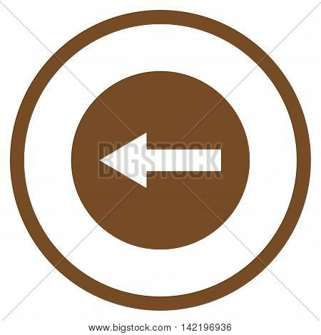 Left Rounded Arrow vector icon. Style is flat rounded iconic symbol, left rounded arrow icon is drawn with brown color on a white background.