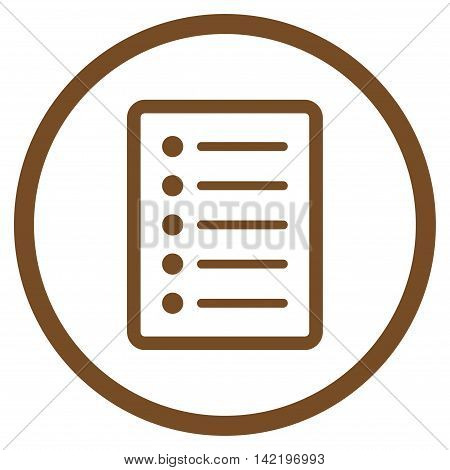 List Page vector icon. Style is flat rounded iconic symbol, list page icon is drawn with brown color on a white background.