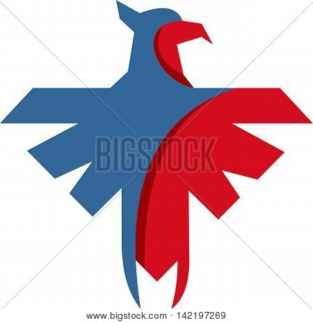 stock logo origami eagle bird paper abstract