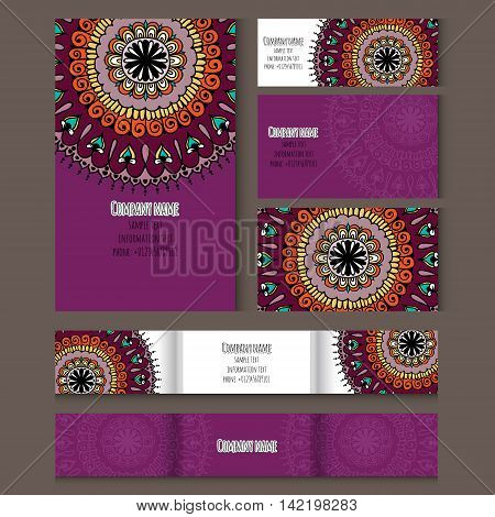 Set of templates for business style notebooks cards business card invitation card with floral round ornament. Corporate style. Vector illustration.