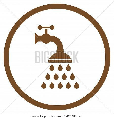 Shower Tap vector icon. Style is flat rounded iconic symbol, shower tap icon is drawn with brown color on a white background.