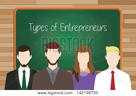 types of entrepreneurs concept illustration with green board as background and businessman lining up on front vector graphic