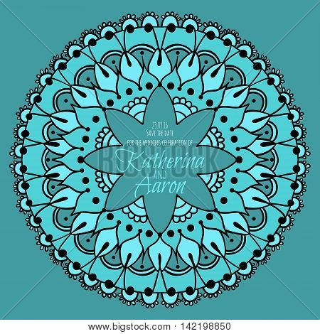 Round pattern mandala with place for text. Floral round pattern for the wedding invitation greeting cards business style cards or else. Vector illustration