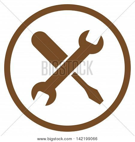 Tuning vector icon. Style is flat rounded iconic symbol, tuning icon is drawn with brown color on a white background.