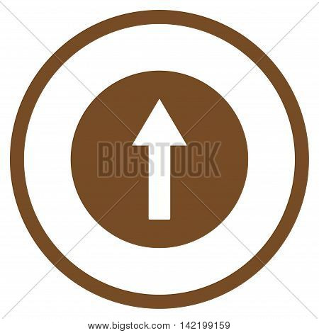 Up Rounded Arrow vector icon. Style is flat rounded iconic symbol, up rounded arrow icon is drawn with brown color on a white background.