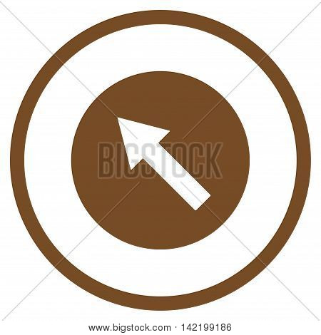 Up-Left Rounded Arrow vector icon. Style is flat rounded iconic symbol, up-left rounded arrow icon is drawn with brown color on a white background.