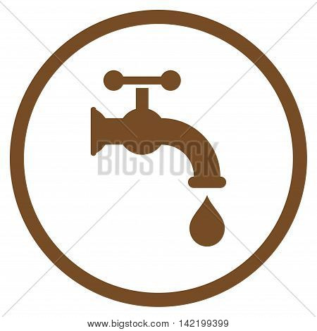 Water Tap vector icon. Style is flat rounded iconic symbol, water tap icon is drawn with brown color on a white background.