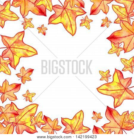 background with autumn maple watercolor orange and yellow leaves , nature template, foral frame, hand drawn design elements