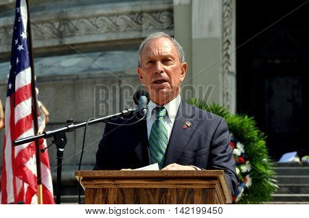 New York City - May 28 2012: Mayor Michael Bloomberg speaking at the 2012 Memorial Day Remembrance Ceremonies at the Soldiers' and Sailors' Monument in Riverside Park
