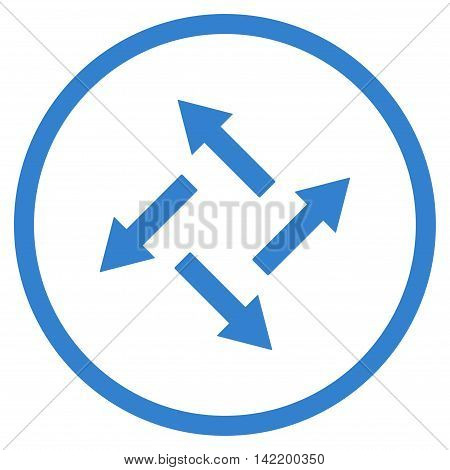Centrifugal Arrows vector icon. Style is flat rounded iconic symbol, centrifugal arrows icon is drawn with cobalt color on a white background.