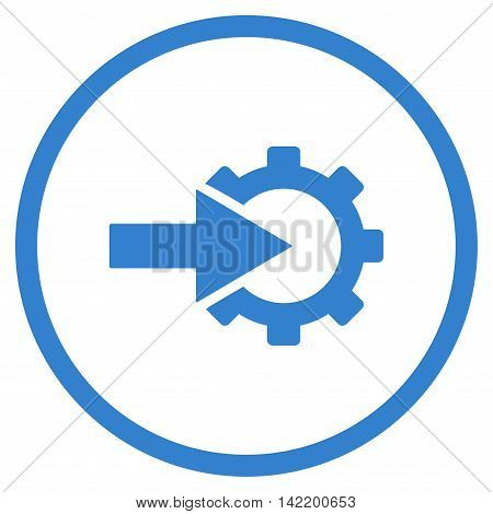 Cog Integration vector icon. Style is flat rounded iconic symbol, cog integration icon is drawn with cobalt color on a white background.