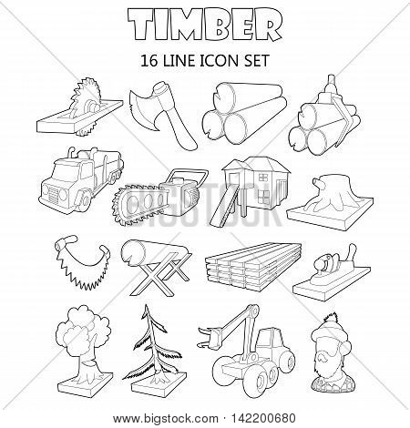 Outline timber icons set. Universal timber icons to use for web and mobile UI, set of basic timber elements isolated vector illustration