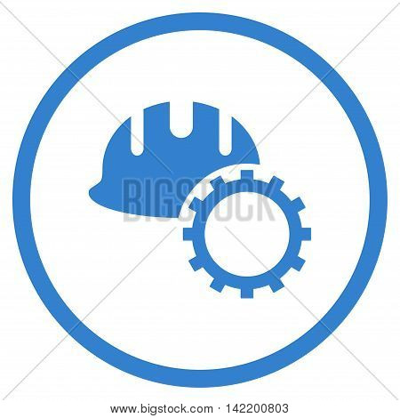 Development Hardhat vector icon. Style is flat rounded iconic symbol, development hardhat icon is drawn with cobalt color on a white background.