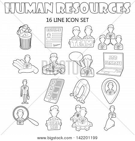 Outline human resources icons set. Universal human resources icons to use for web and mobile UI, set of basic human resources elements isolated vector illustration