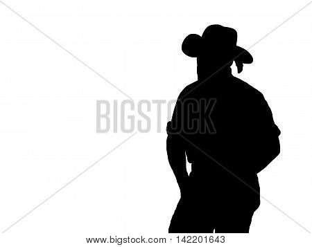 Black silhouette of a cowboy with a feather in his hat on a white background.
