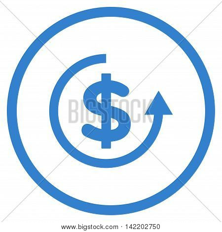 Refund vector icon. Style is flat rounded iconic symbol, refund icon is drawn with cobalt color on a white background.