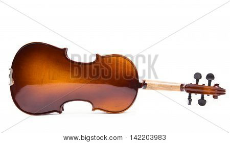 The reverse side of a violin on a white background