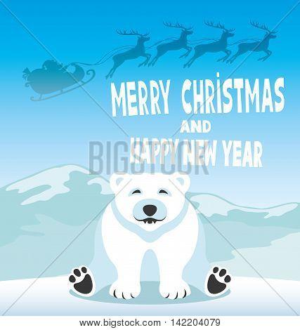 Polar bear and Santa Claus in the sky above him.