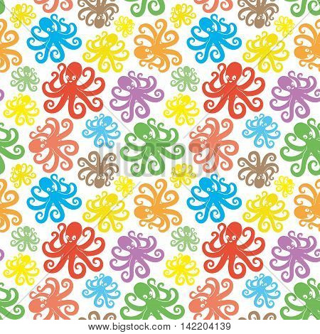 Pattern for seamless background colorful cute octopus.