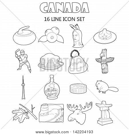 Outline Canada icons set. Universal Canada icons to use for web and mobile UI, set of basic Canada elements isolated vector illustration