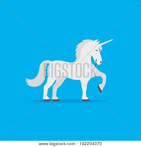 Cute white unicorn on a blue background.