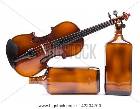 Figurative composition of the bottles with a violin on a white background