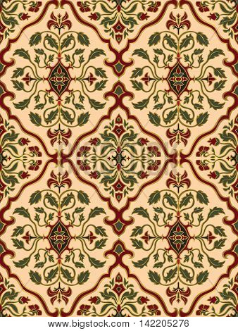 Elegant floral ornament. Template for oriental carpets textiles wallpaper shawl. Seamless vector pattern of gold contours on a beige background.