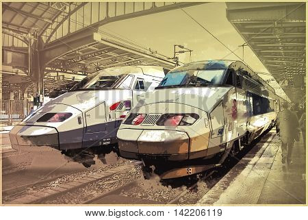 Trains on Northern train station, Gare du Nord, Paris, France. Vintage painting, background illustration, beautiful picture, travel texture