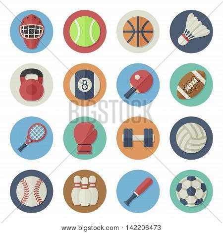 Vector illustration. Flat icon set. Sport equipment in simple design. Icon size 256