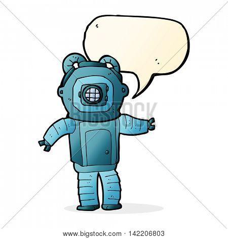 cartoon deep sea diver  with speech bubble