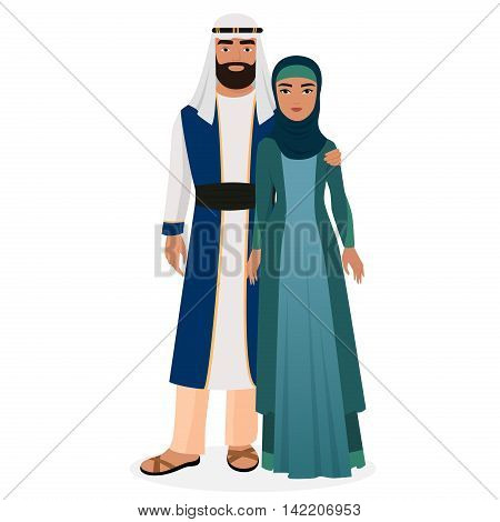 Arab family. Arabian man and woman couple in traditional national clothes