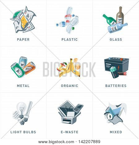 Isolated Trash Waste Recycling Categories Types