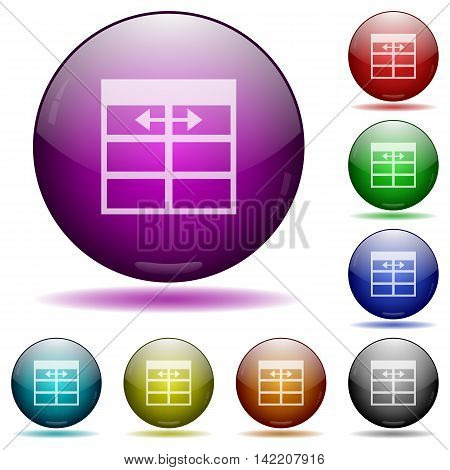 Set of color Spreadsheet adjust table column width glass sphere buttons with shadows.
