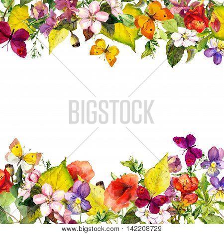 Autumn garden - yellow leaves, flowers, grass, herbs and butterflies. Floral seamless pattern, watercolor