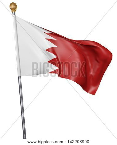 National flag for country of Bahrain isolated on white background, 3D rendering