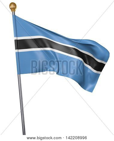 National flag for country of Botswana isolated on white background, 3D rendering