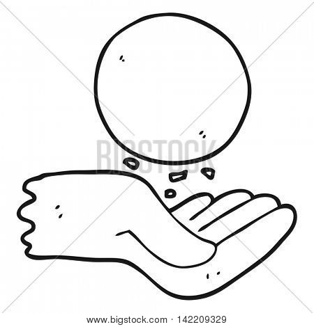 freehand drawn black and white cartoon hand throwing ball
