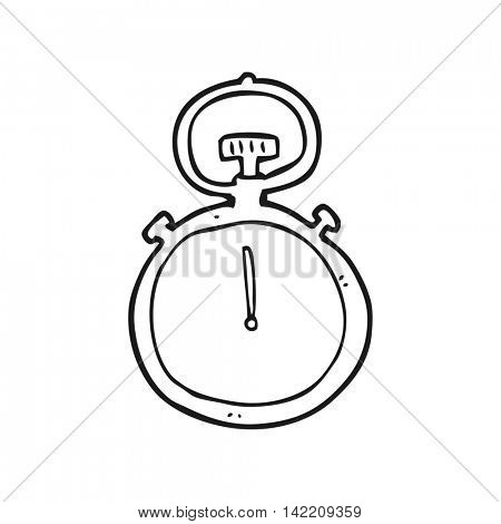 freehand drawn black and white cartoon stop watch