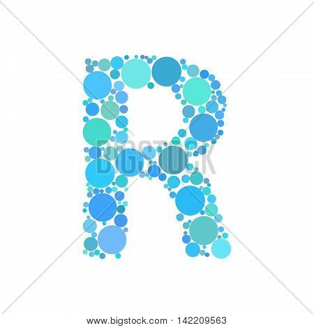 Letter R made from dots. Circle fill effect. Vector illustration.