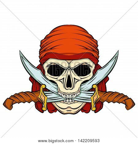 human skull pirate knife in his mouth vector illustration isolated